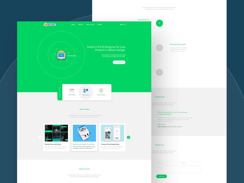 Free Blender Landing Page Design Concept download