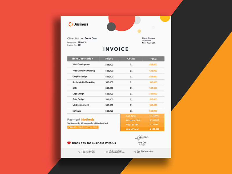Minimalistisc Invoice Template Free Psd Template Psd Repo