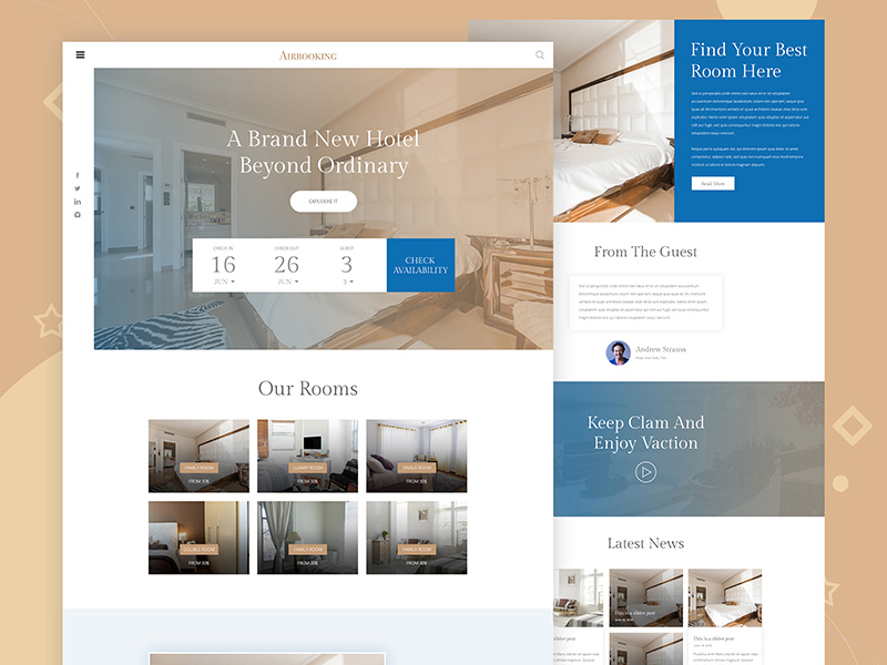 Hotel Booking Website Template Freebie Download Photoshop Resource - Booking website template