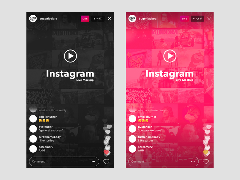 instagram live ios ui template mockup freebie download photoshop resource psd repo. Black Bedroom Furniture Sets. Home Design Ideas