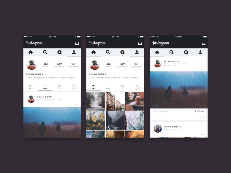 Instagram UI Concept Freebie - Download Photoshop Resource