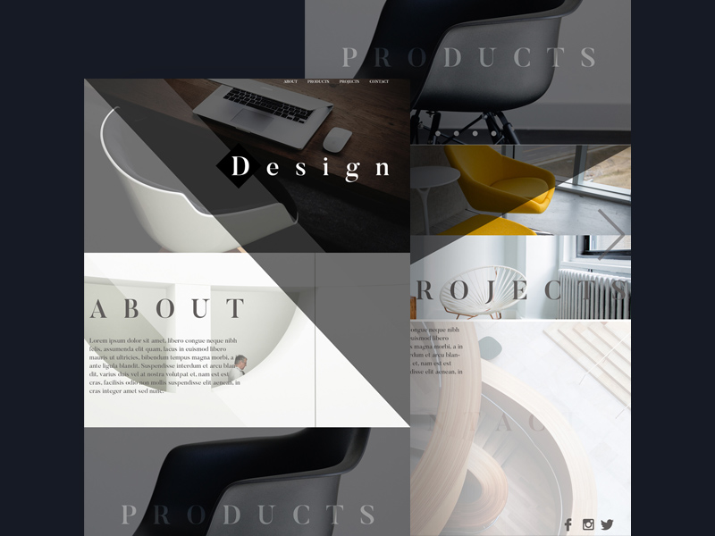 Free Interior Design One Page Template download