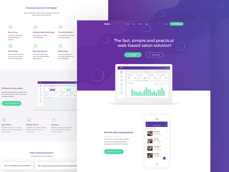 free landing page template spiky salon software freebie download