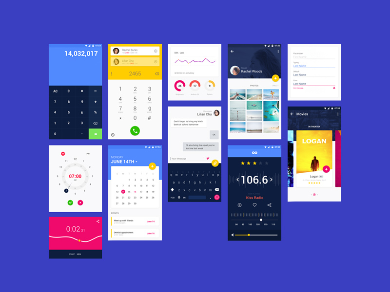 Free Vibrant Material UI Kit download