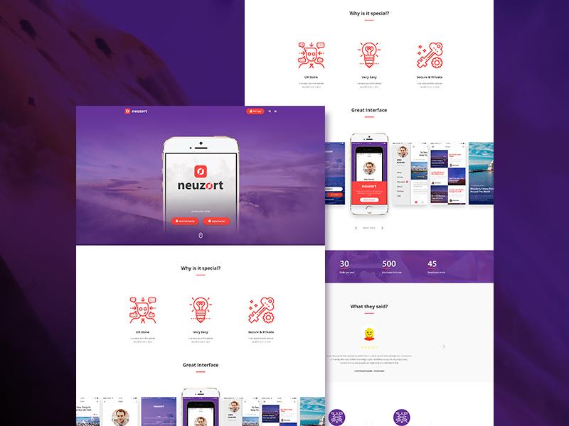 Free Neuzort Landing Page Template download