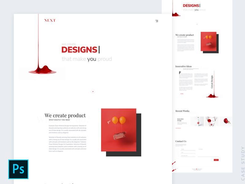Next - Agency Landing Page Design Template Freebie - Download ...