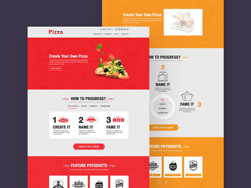 online pizza website template free psd template psd repo