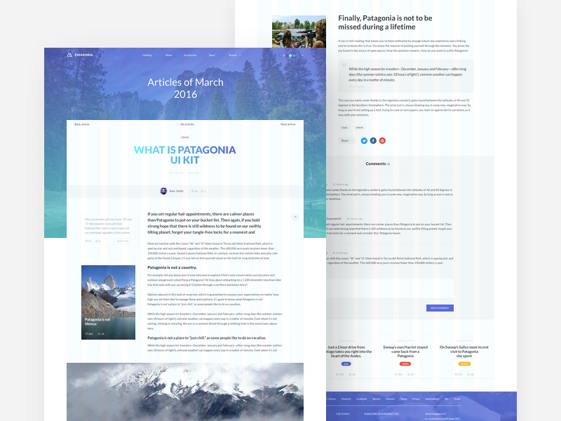 Patagonia Website Template Freebie Download Photoshop Resource - What is web template