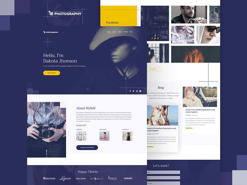 Photography Website Template Freebie Download Photoshop Resource - Photography website templates free download