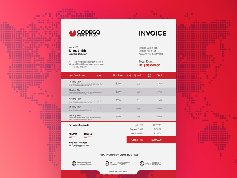 Free Invoice Template Freebie Download Photoshop Resource Psd Repo