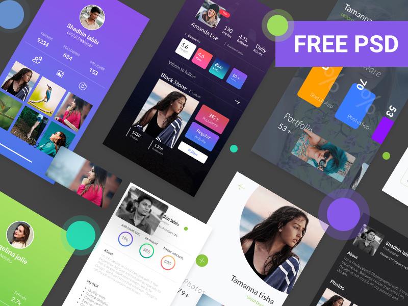 Free Profile UI Design Kit download