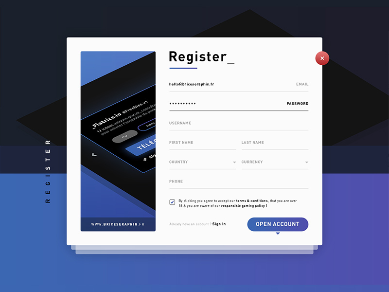 register form template free psd template psd repo
