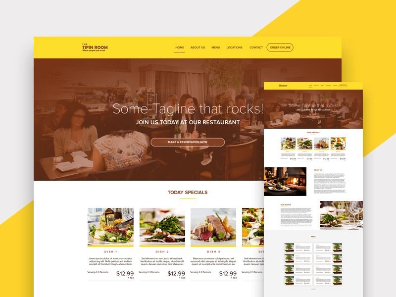 Free Restaurant Web Design Template download