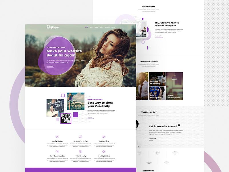 Creative Website Template - Rotona Freebie - Download Photoshop ...