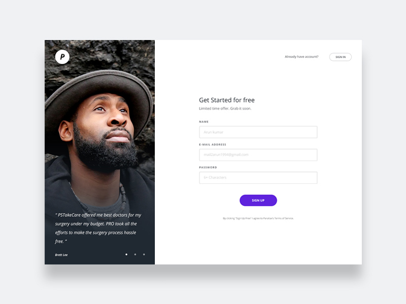 Free Sign Up Page Design download