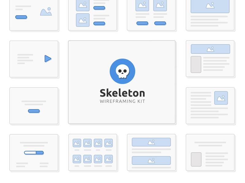 Skeleton Wireframing Sample Kit Freebie - Download Photoshop ...