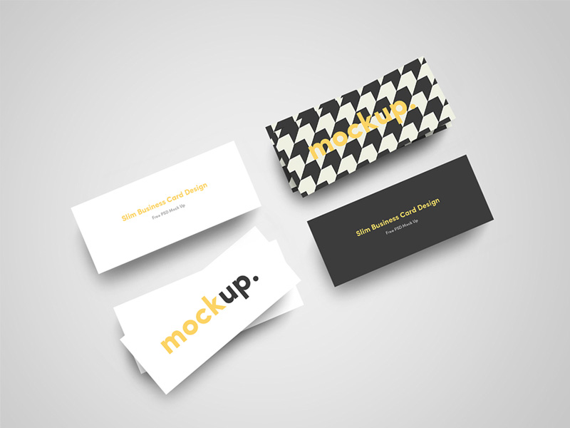 Slim Business Card Mockups Freebie - Download Photoshop Resource ...