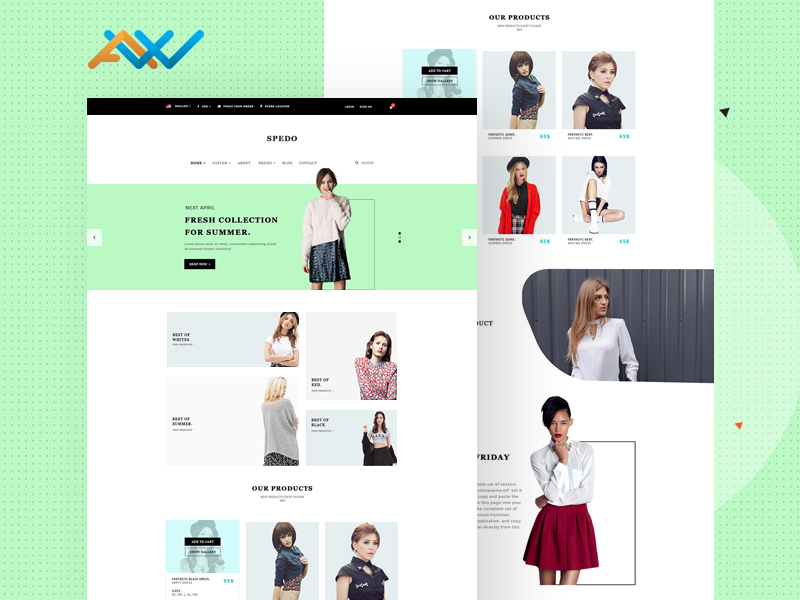 Spedo Fashion & Clothes Site Template Freebie - Download Photoshop ...