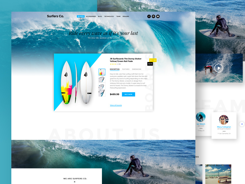 Free Surfers Co. Website Template download