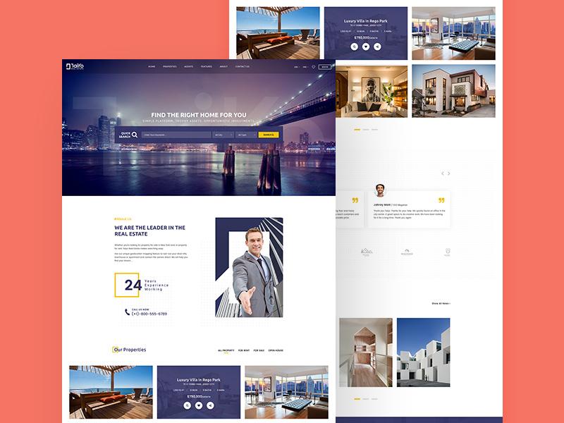 Taiyo Real Estate Website Template Freebie Download Photoshop - Real estate website templates free
