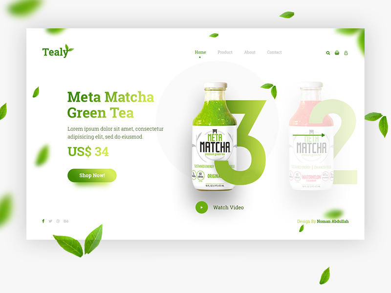 One Page Design Template - Tealy Freebie - Download Photoshop ...