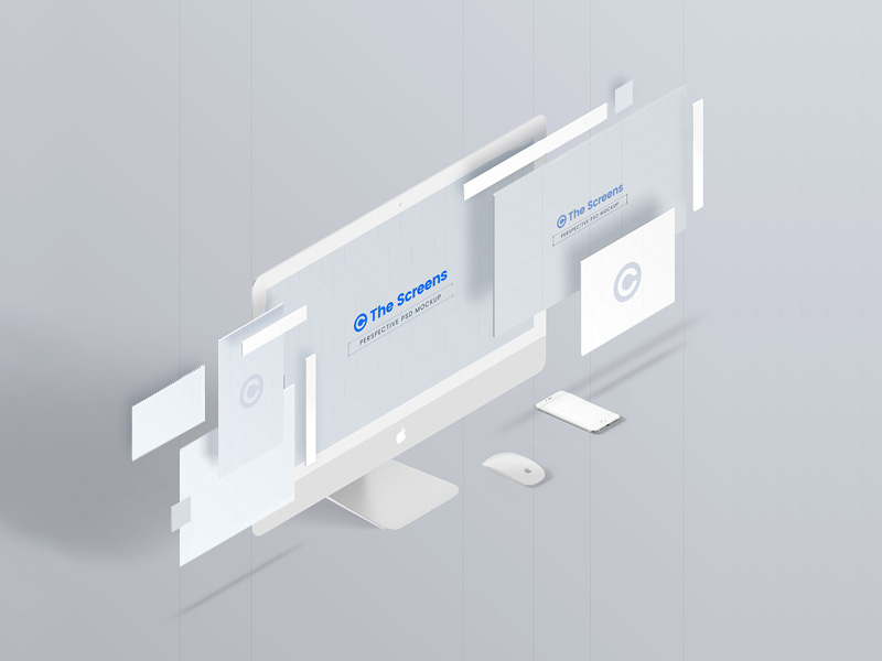 The Screens Perspective Mockup Template Freebie - Download Photoshop ...