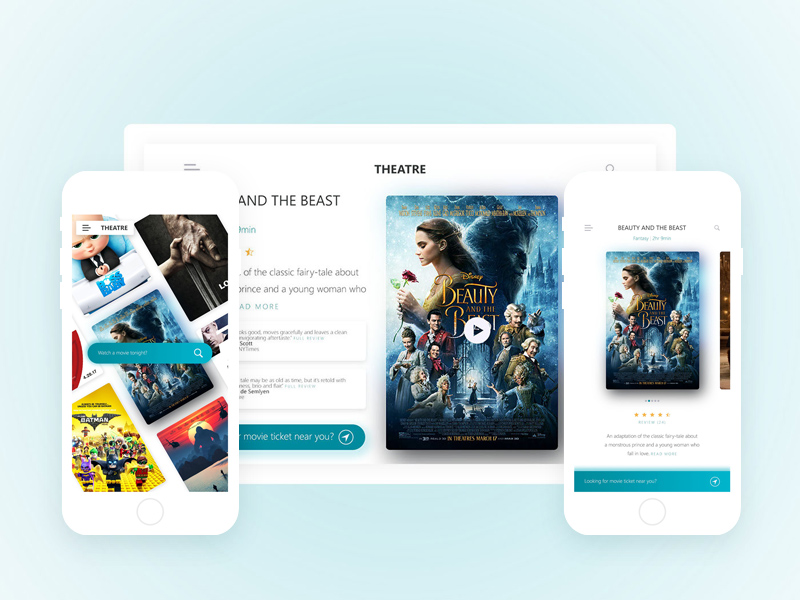 theatre movie ticket app website template free psd template