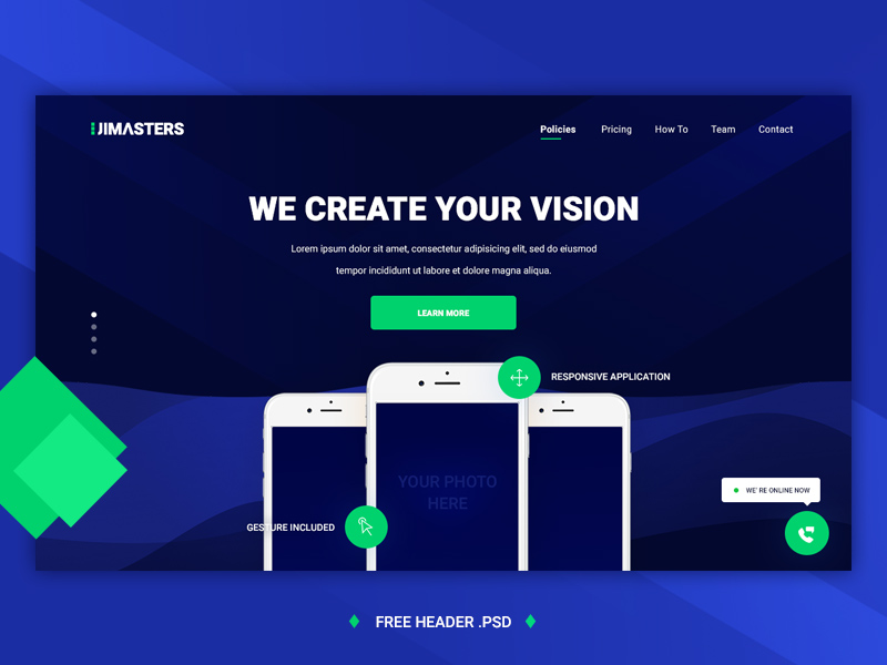 Uimasters Header Template Free Psd Template Psd Repo