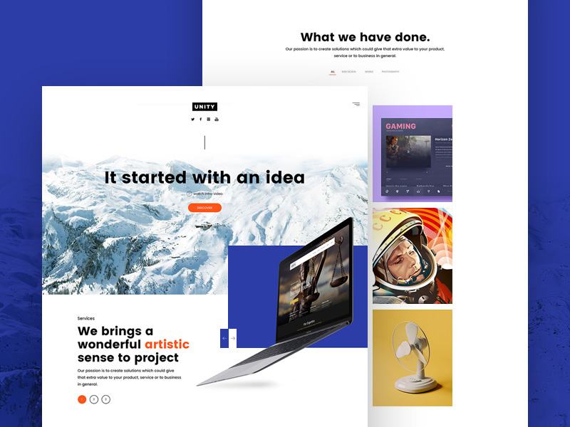 Unity Website Template Freebie Download Photoshop Resource PSD Repo - What website template is this