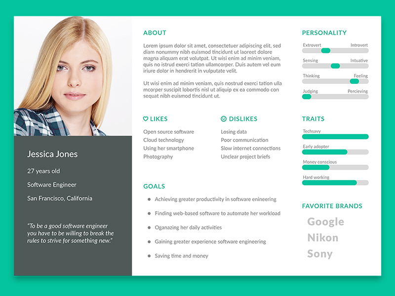 User Persona Template Freebie Download Photoshop