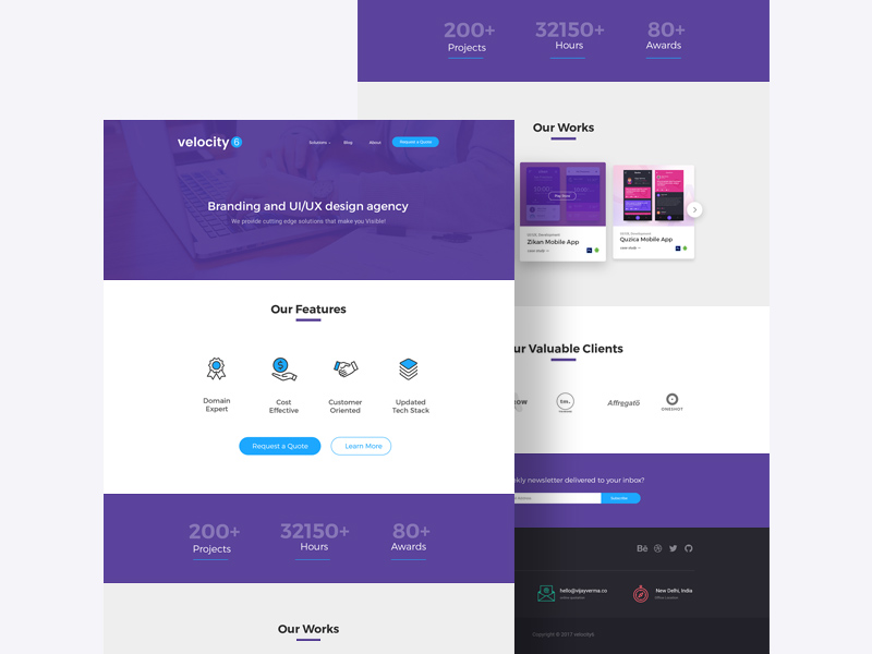 Free Velocity 6 Landing Page PSD Template download