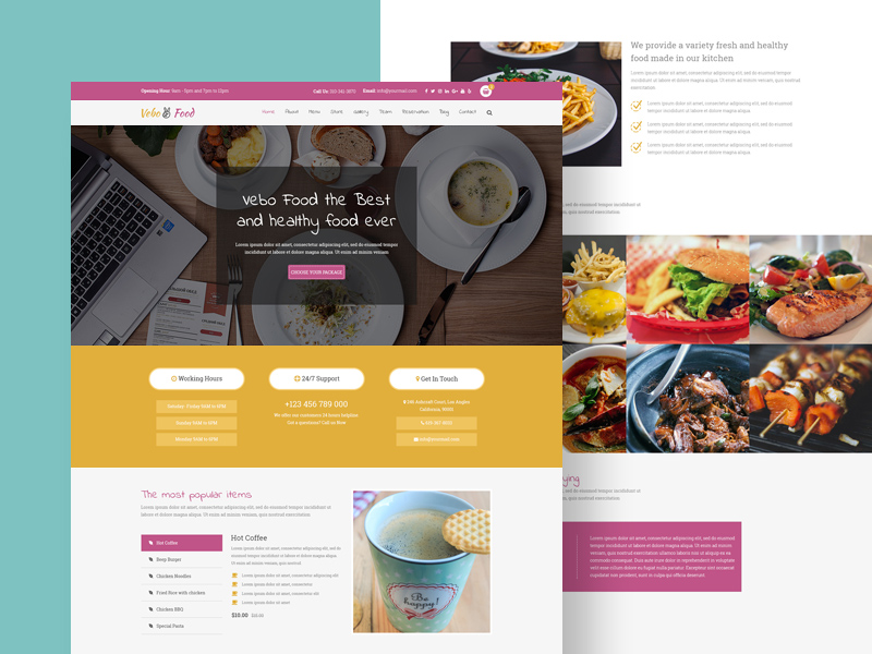 Free Vevo Food – Restaurant & Cafe Website PSD Tempalte download
