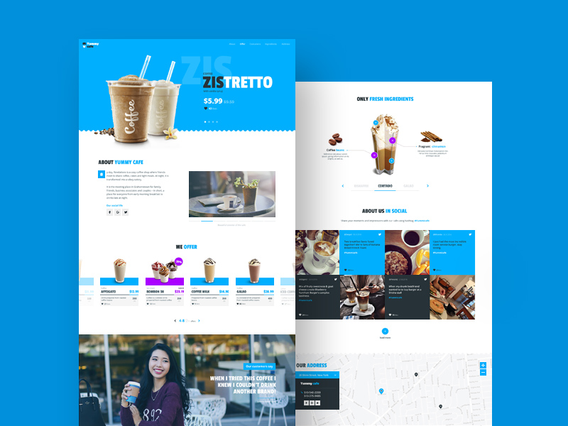 Free Yummy Cafe – Barista Website Template download